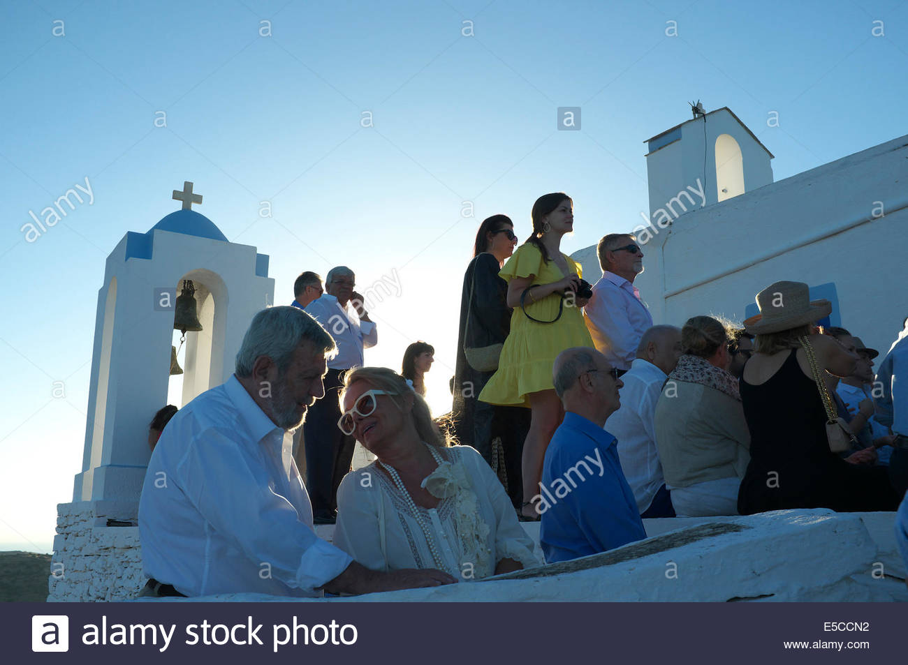Wedding guests at a Greek wedding ceremony, at Agios Simeon (St ...
