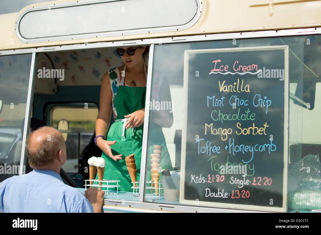 Vintage Ice Cream Van at Village Fair - Stock Image