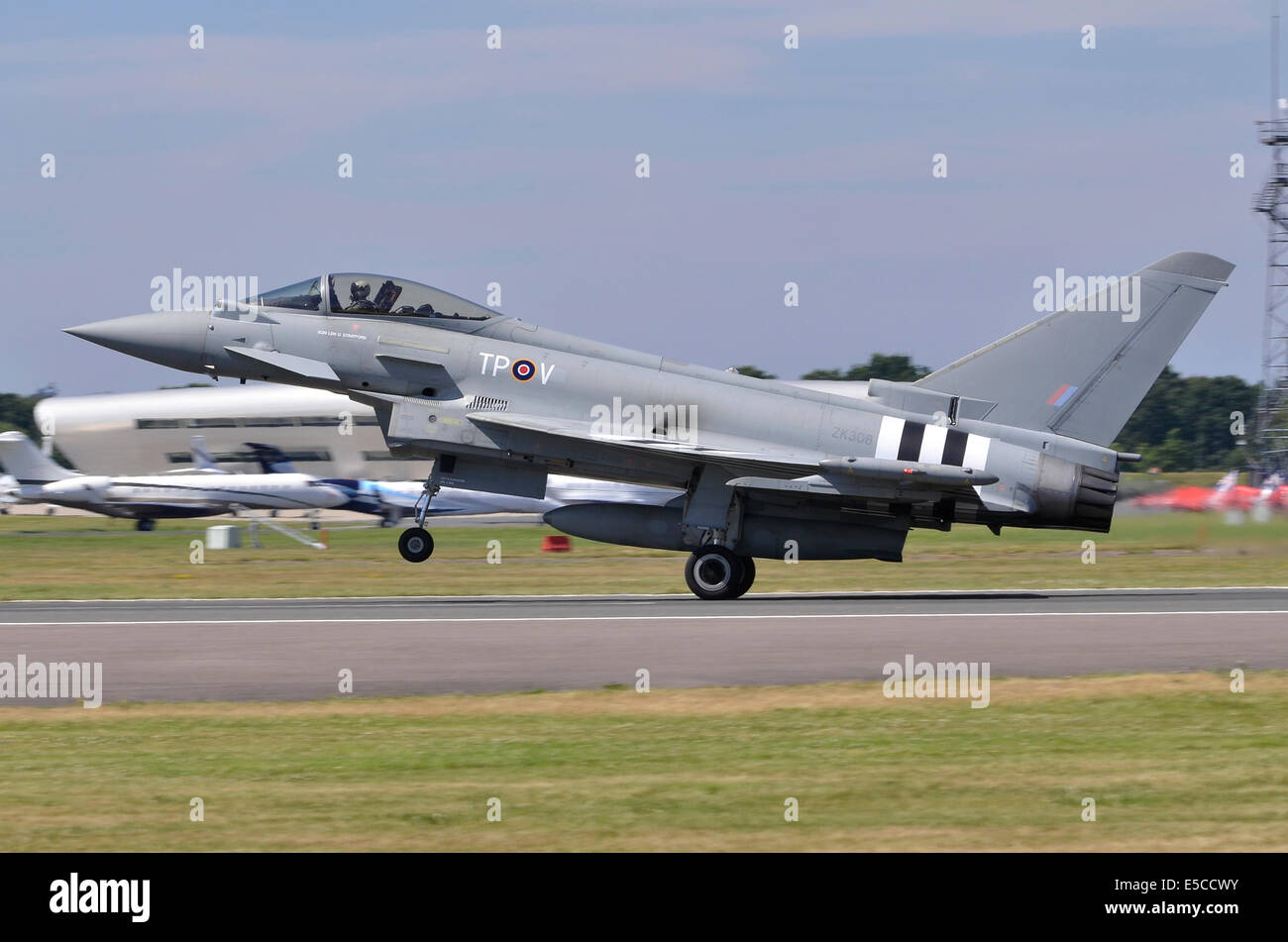 Eurofighter Typhoon FGR4 aircraft operated by the RAF landing after displaying at Farnborough Airshow 2014 - Stock Image