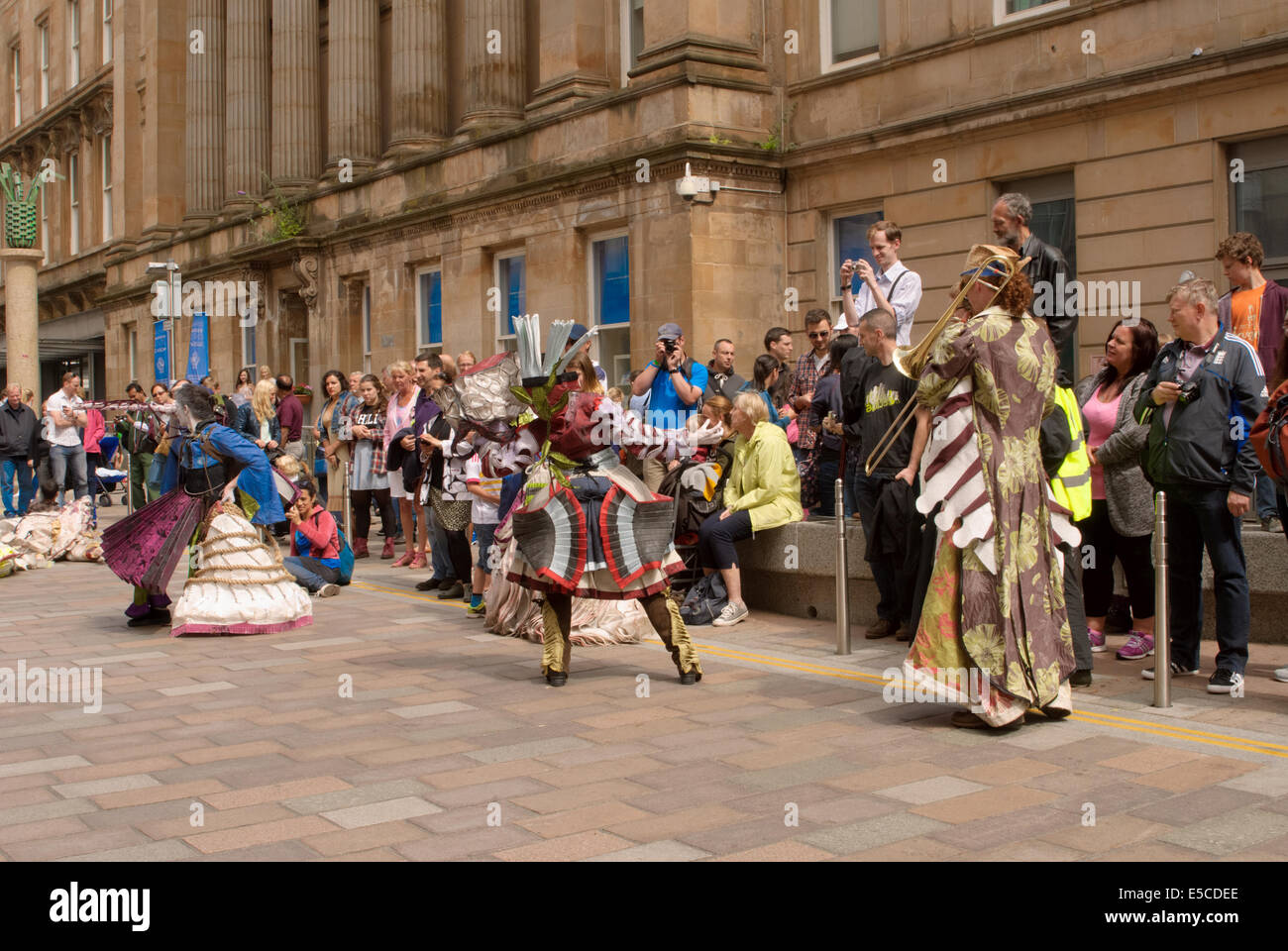 Theatrical performance at the Merchant city festival in Glasgow on 27 July 2014 taking place during the Commonwealth - Stock Image