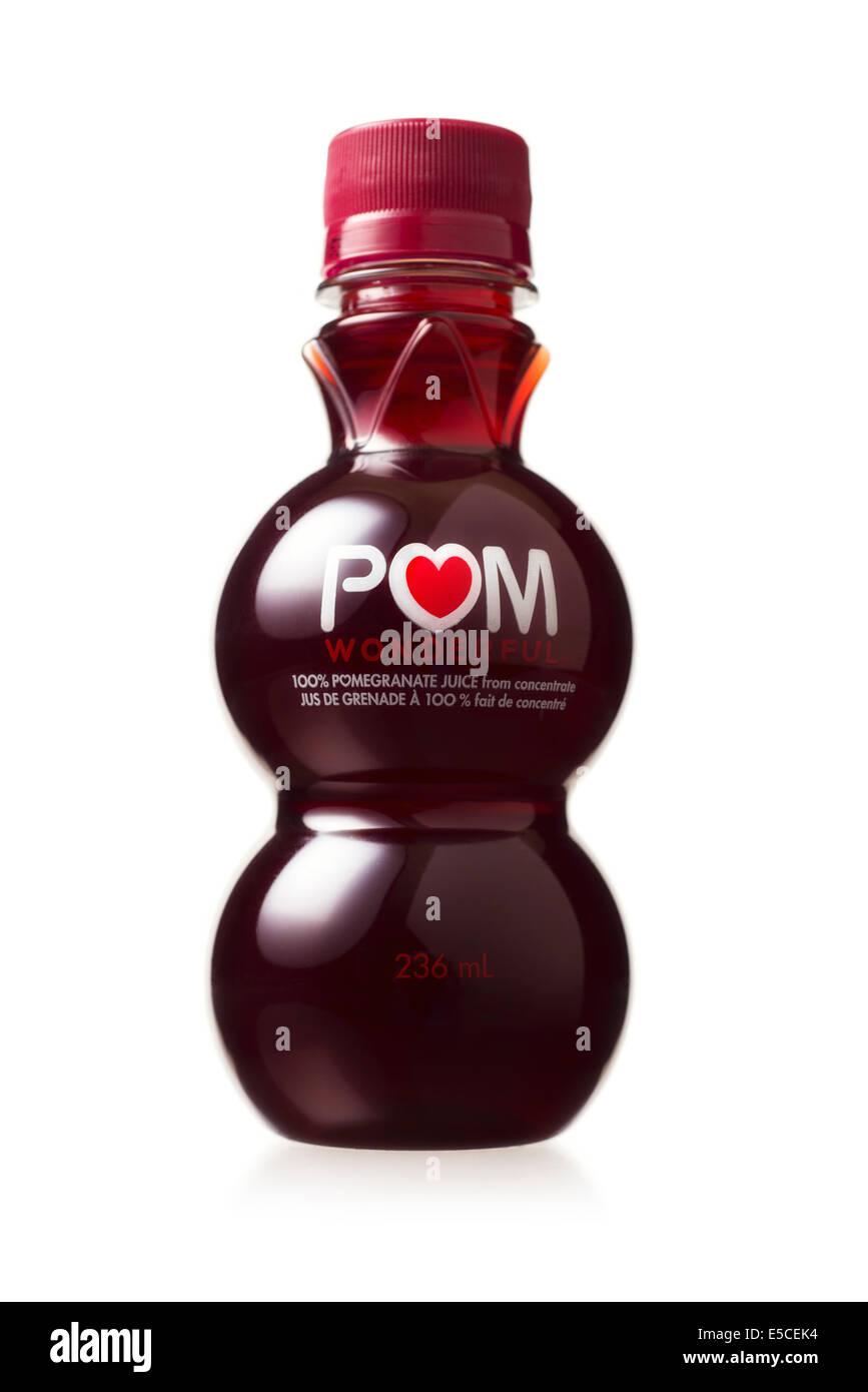 Pomegranate Juice, POM, Bottle - Stock Image