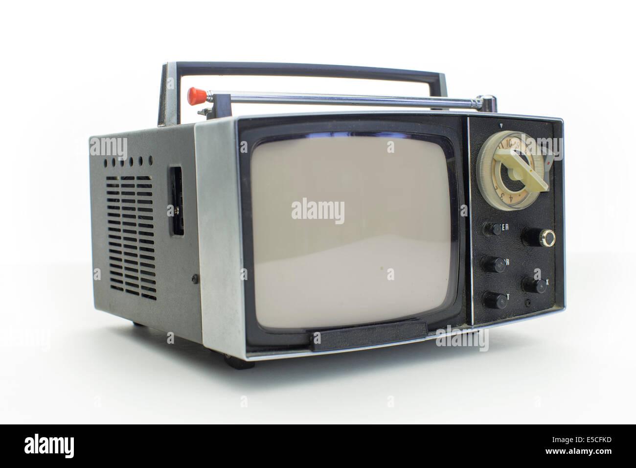 really cool retro vintage portable televison shot against white - Stock Image