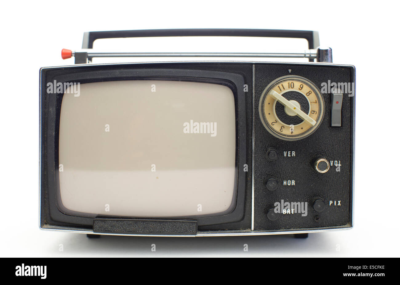 really cool retro vintage portable televison shot against white - Stock Image