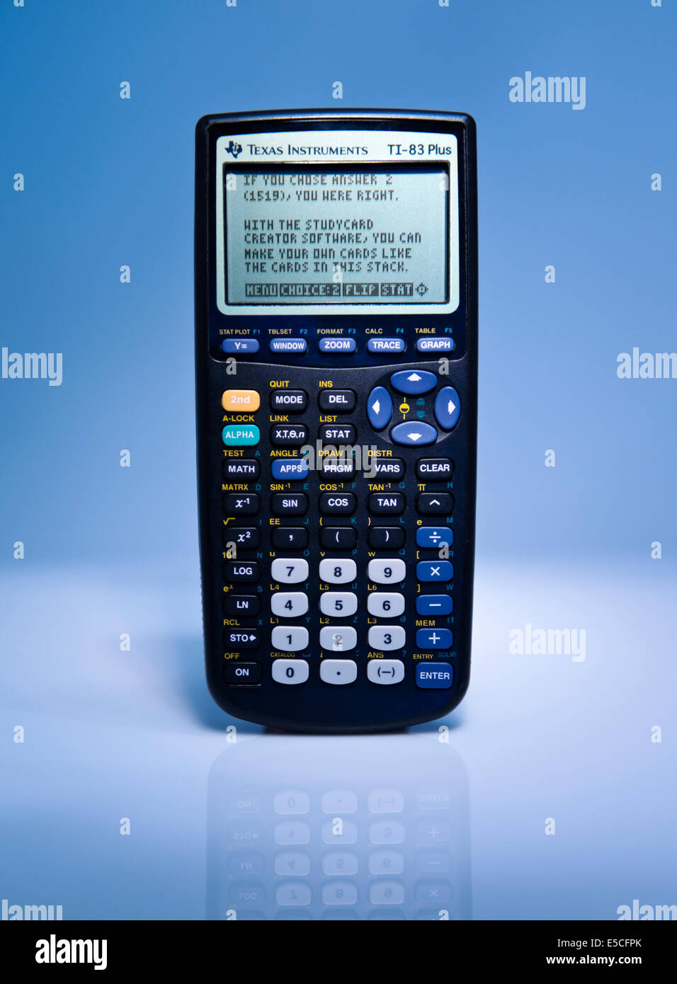 Detail front view of a Texas Instruments TI-83 Plus Graphing Calculator. - Stock Image