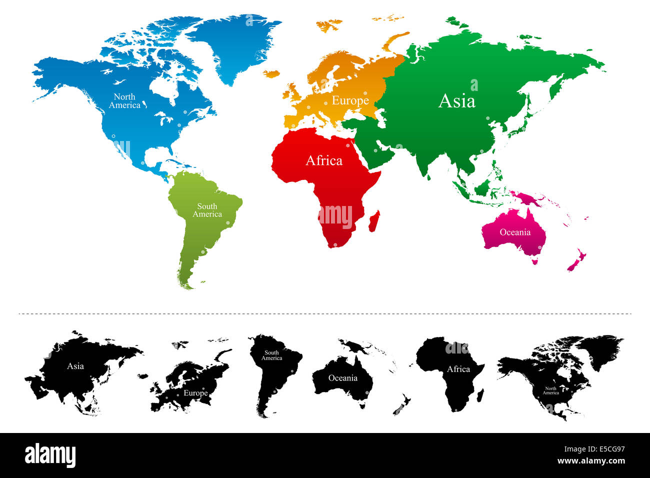 World map with colorful continents Atlas Stock Photo