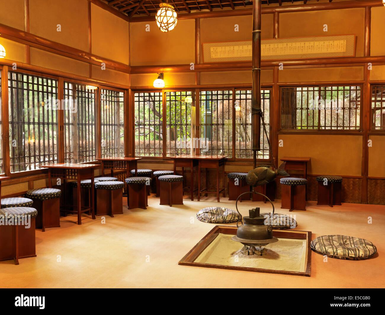 Public tea room at a restaurant in a Japanese ryokan hotel. Gero, Japan. - Stock Image