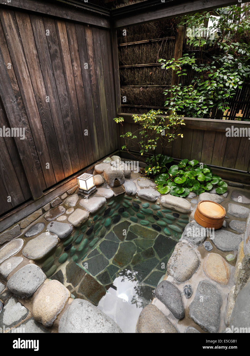Open air outdoor onsen hot spring private bath at a ryokan - Ryokan tokyo with private bathroom ...