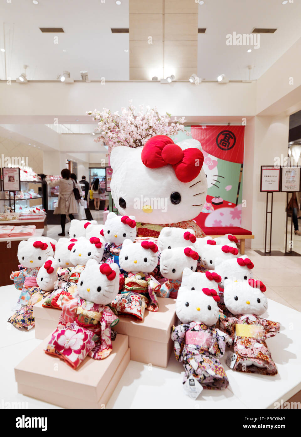 Hello Kitty toys in a Japanese department store wearing ...