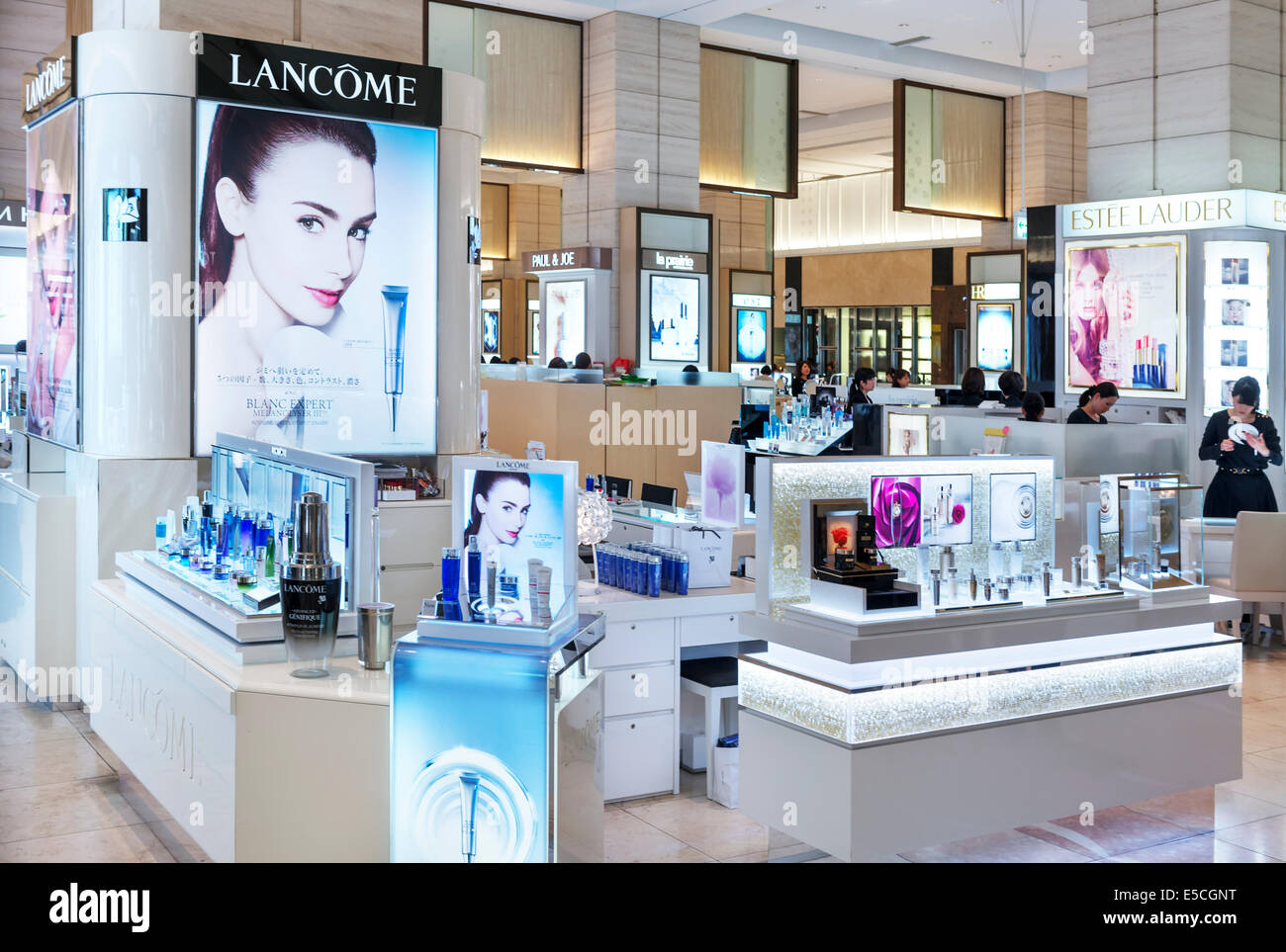 Lancome perfume and cosmetics store display in Tokyo, Japan - Stock Image