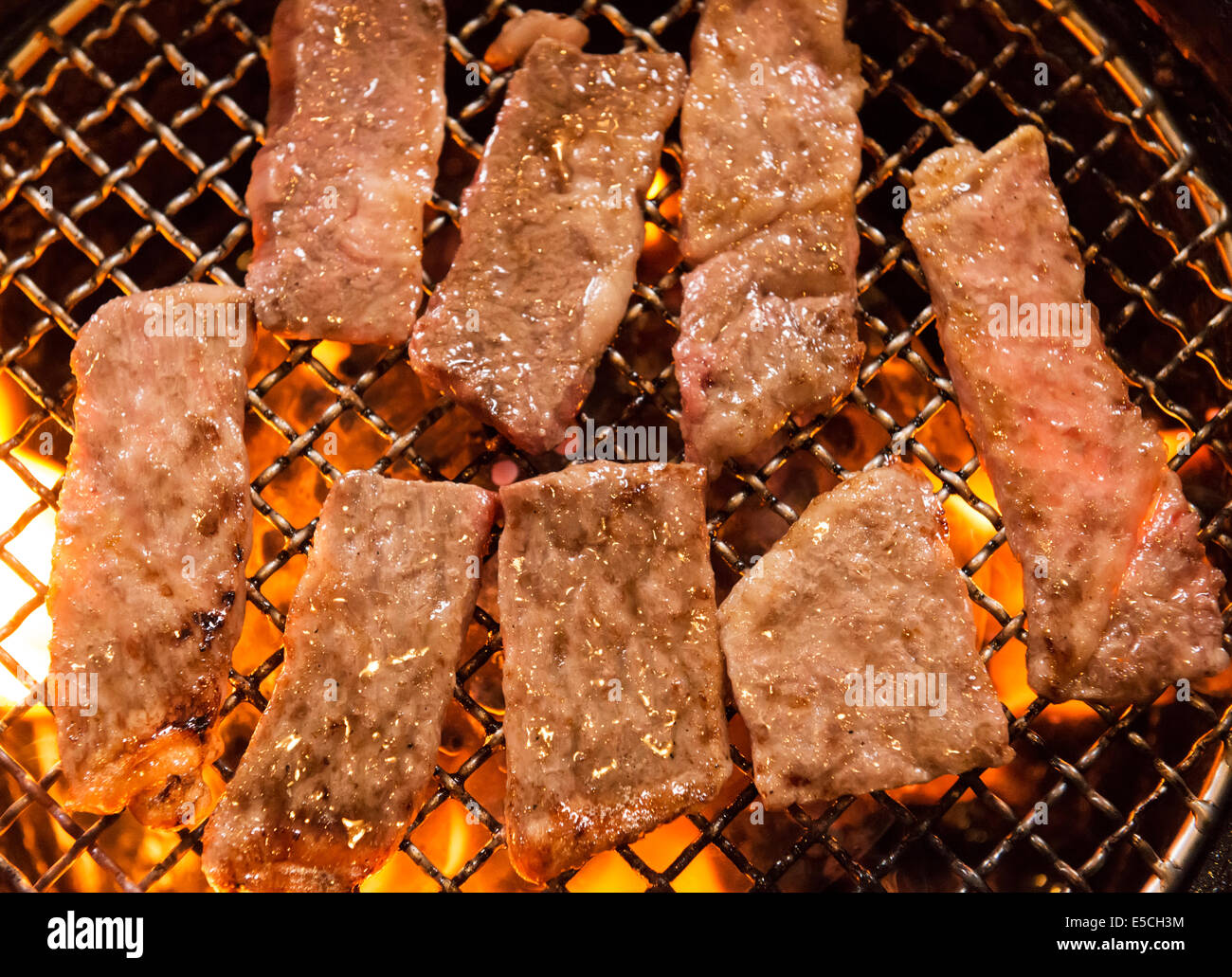Closeup Of Yakiniku Japanese Barbecue Beef Being Cooked On Fire At A Stock Photo Alamy