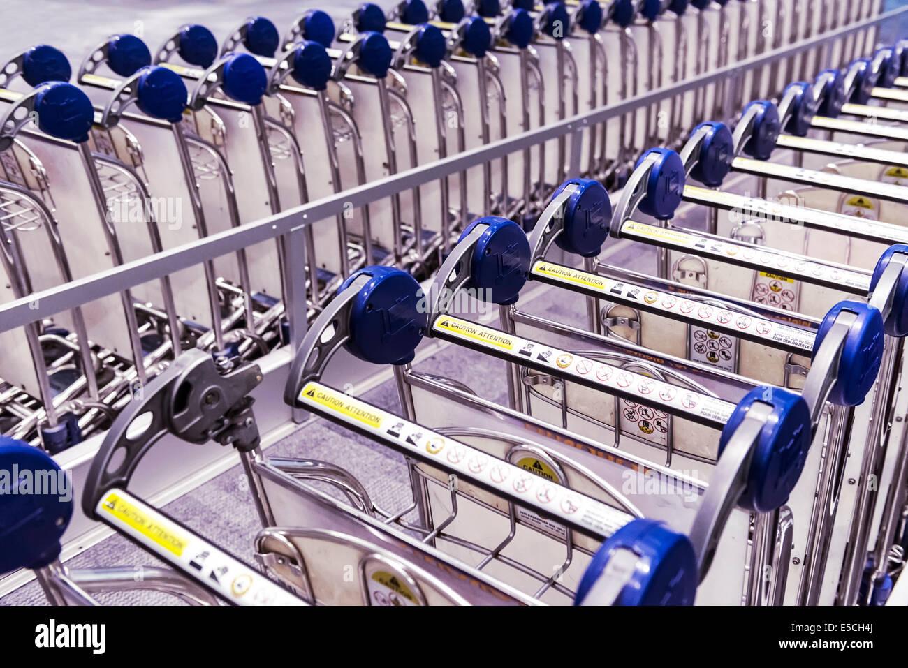 Baggage carts rental at Toronto Pearson International airport, Canada - Stock Image