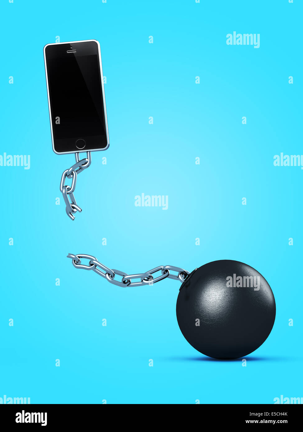 Phone breaking away from ball and chain, breaking a contract, contract-free service, conceptual illustration on - Stock Image