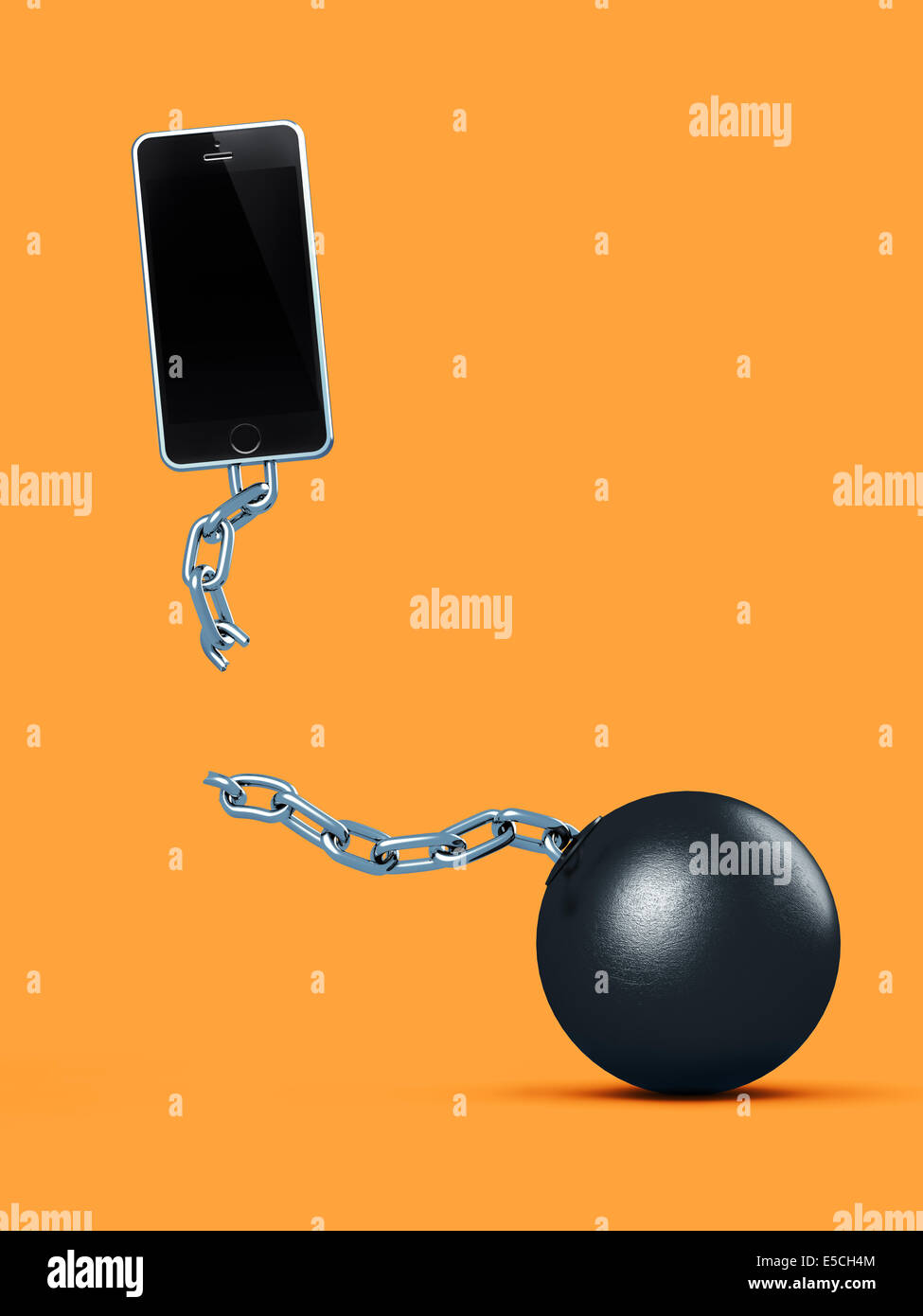 Cellphone breaking away from ball and chain, breaking a contract, contract-free service, conceptual illustration - Stock Image