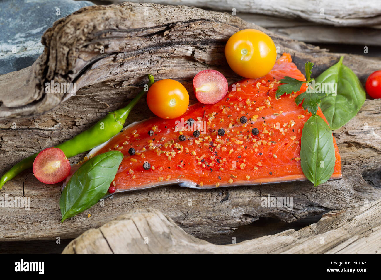 Horizontal view of raw salmon fillet, skin side down, with seasoning inside of drift wood - Stock Image