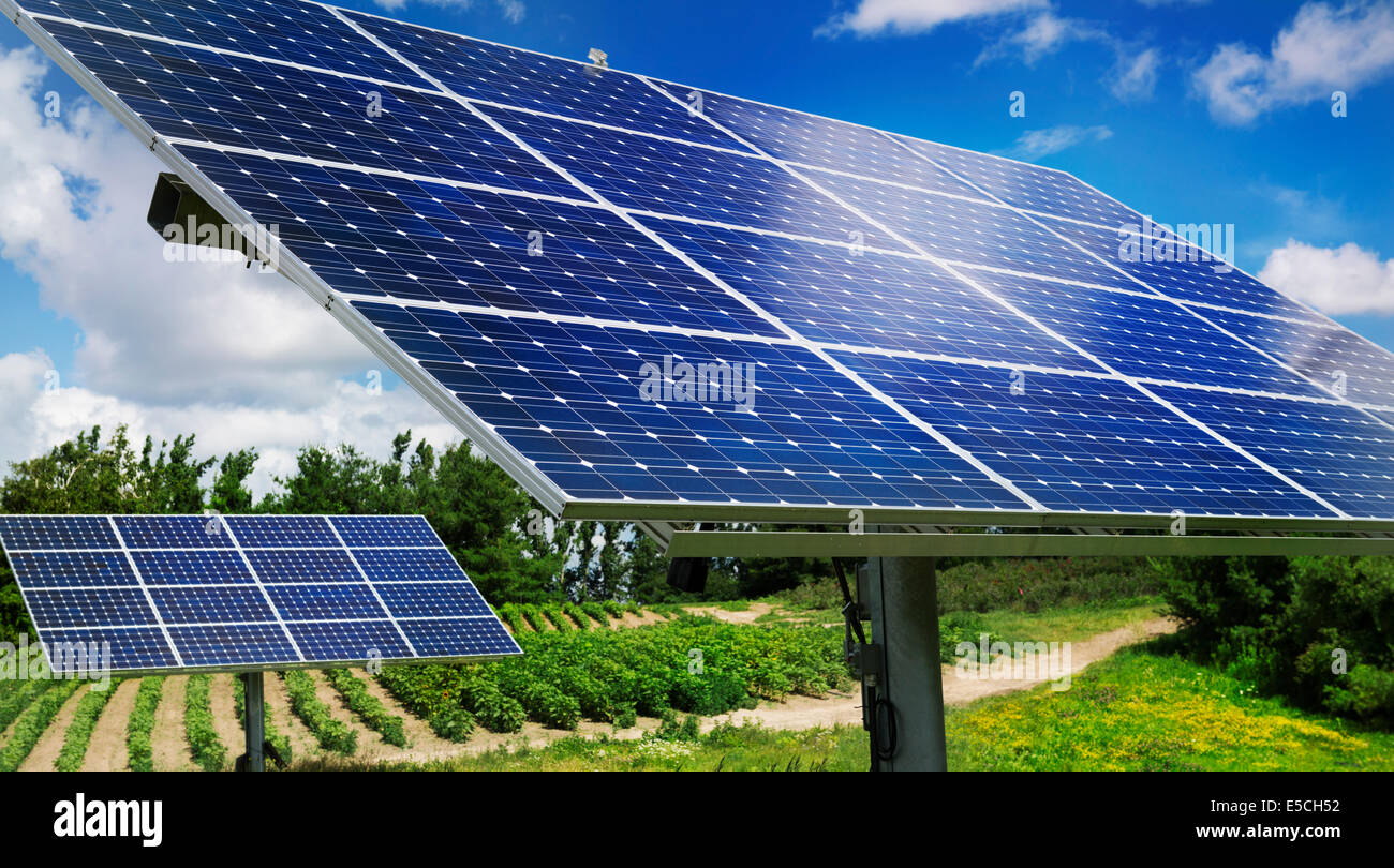 Solar panels with sunlight trackers used as an energy source at a farm in Milton, Ontario, Canada. - Stock Image