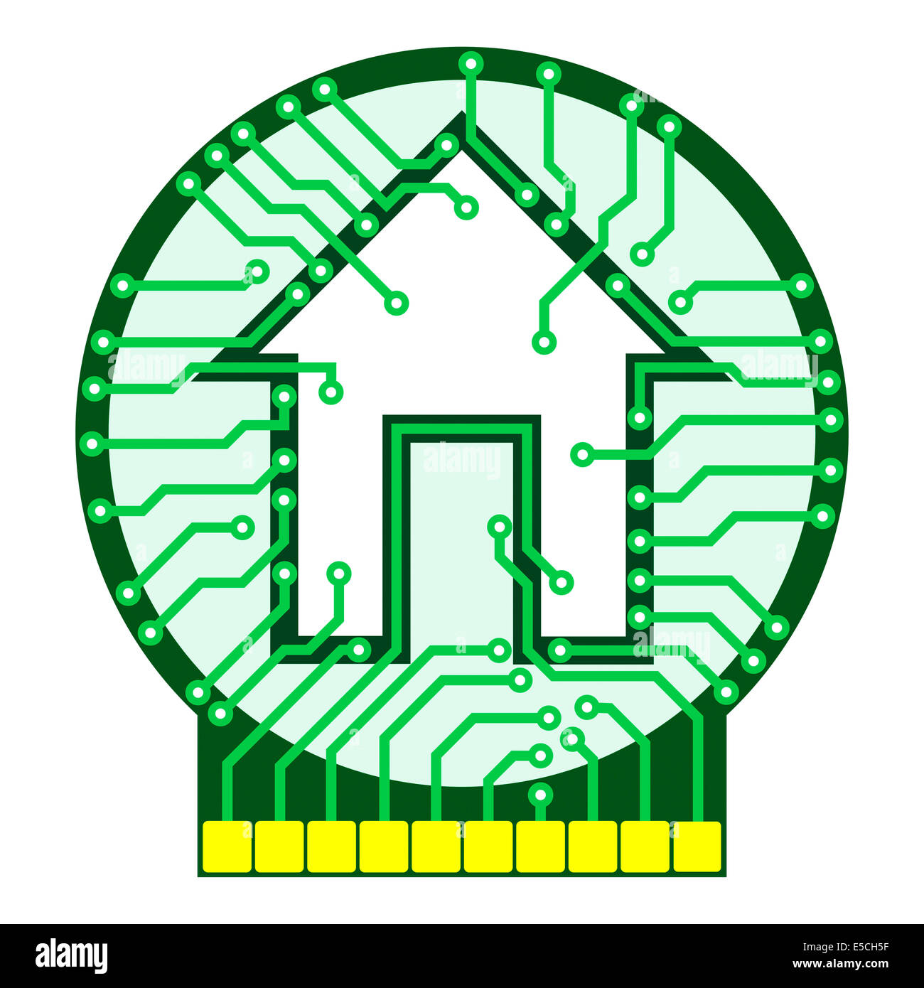 Connected home logo conceptual illustration. Circuit board with house symbol isolated on white background. Vector - Stock Image