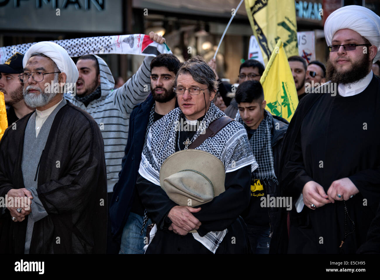 Sydney, Australia. 26th July, 2014.  In Sydney, the Al-Quds Day was observed with a march and rally protesting the - Stock Image