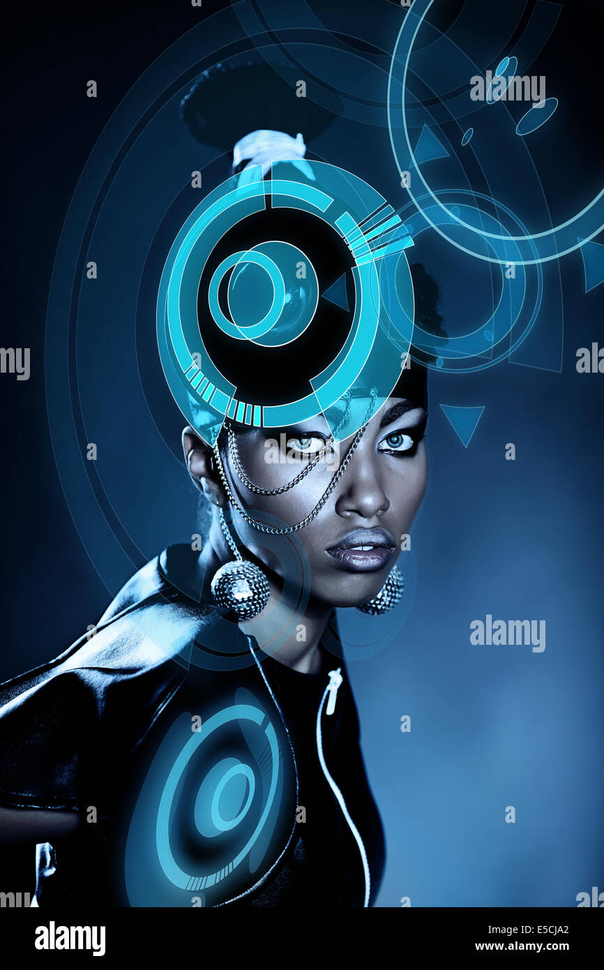 Attractive african woman with shiny hologram on head - Stock Image