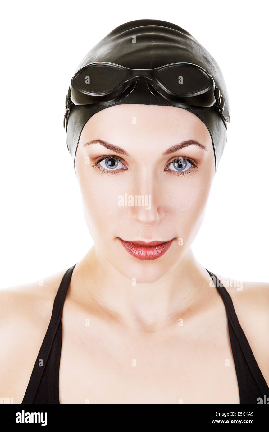6071cf94195 close-up portrait of swimmer in black suit on white background - Stock Image
