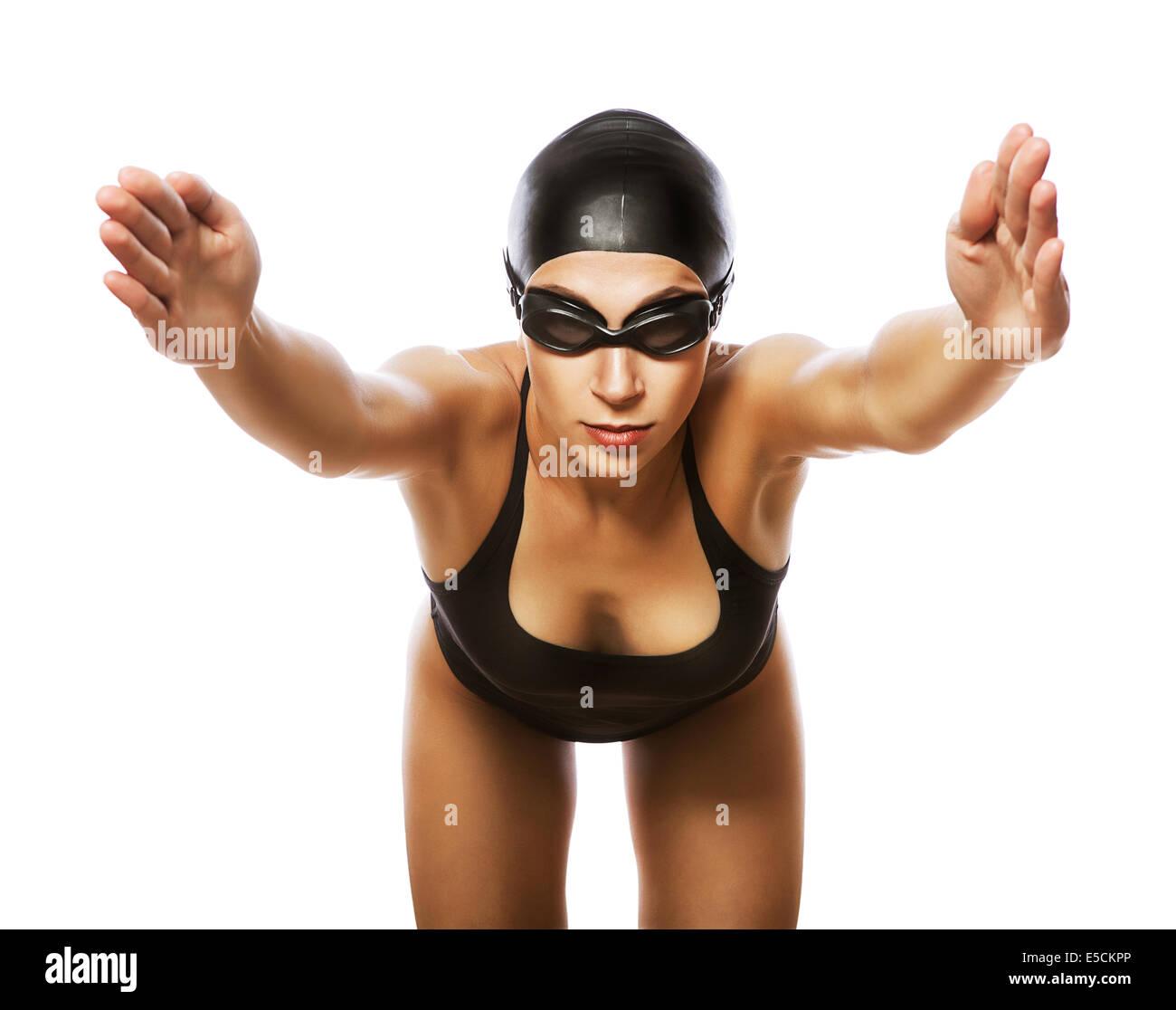 ed18d2e1b81 jumping swimmer in black swimsuit on white background - Stock Image