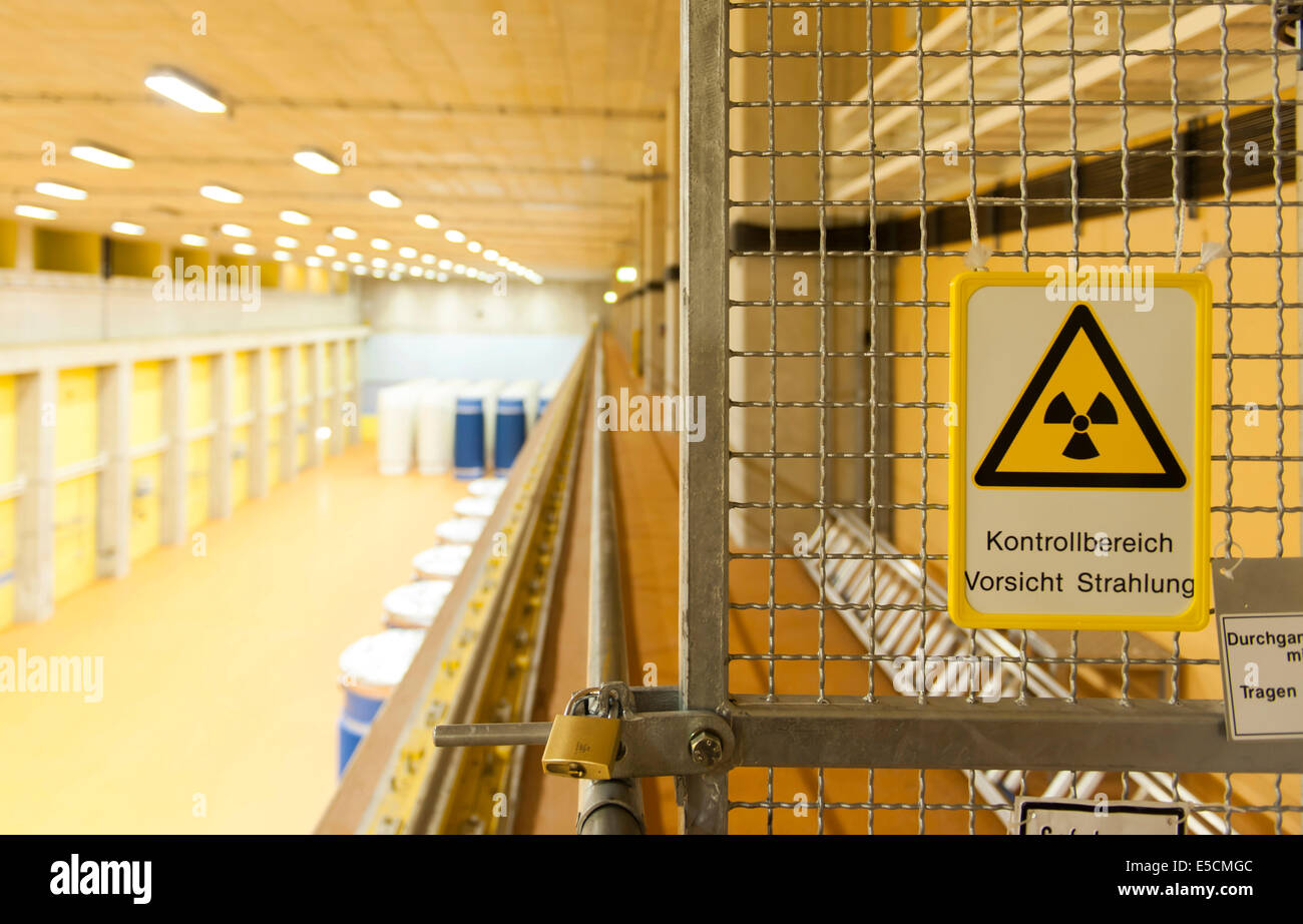 Warning sign in the storehouse for Castor containers filled with spent fuel rods at the Emsland nuclear power plant - Stock Image