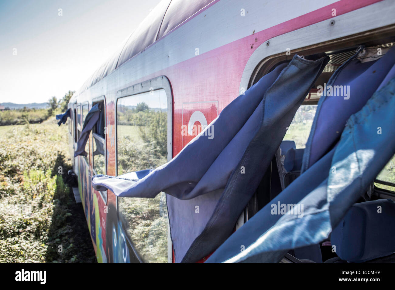 Train from Tirana to Shkoder, one of the few train connections in the country, Albania - Stock Image