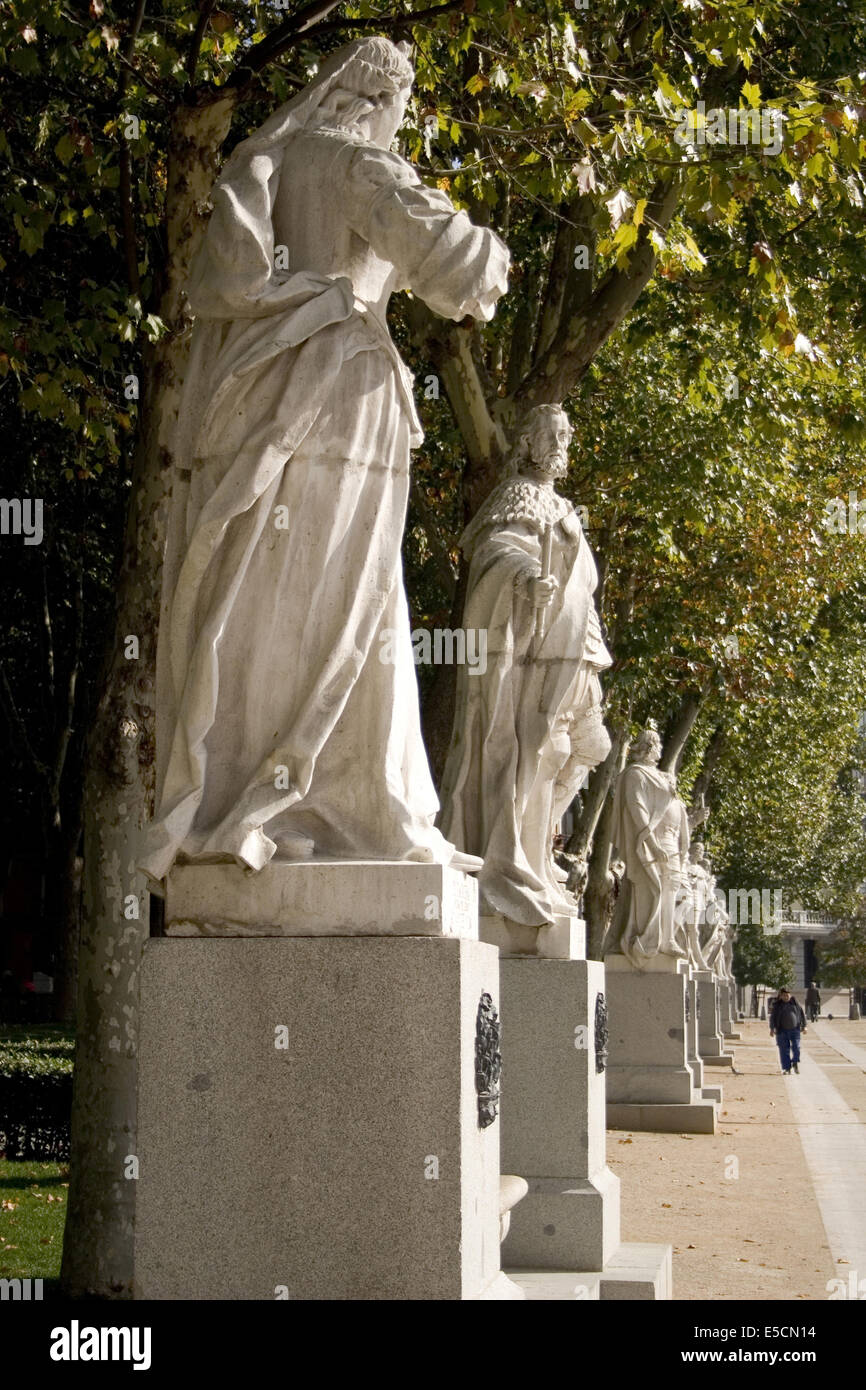 The statues depict Roman, Visigoth and Christian rulers from Plaza de Oriente - Stock Image