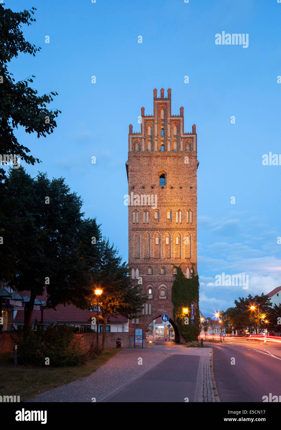 Steintor gate of the medieval fortifications, Anklam, Mecklenburg-Western Pomerania, Germany - Stock Image