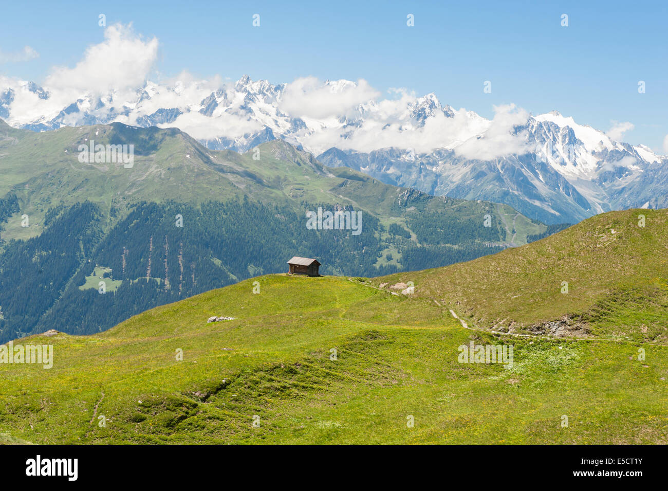 Mountain landscape with alpine pastures between La Chaux and Ruinettes above the holiday village of Verbier, Wallis, - Stock Image