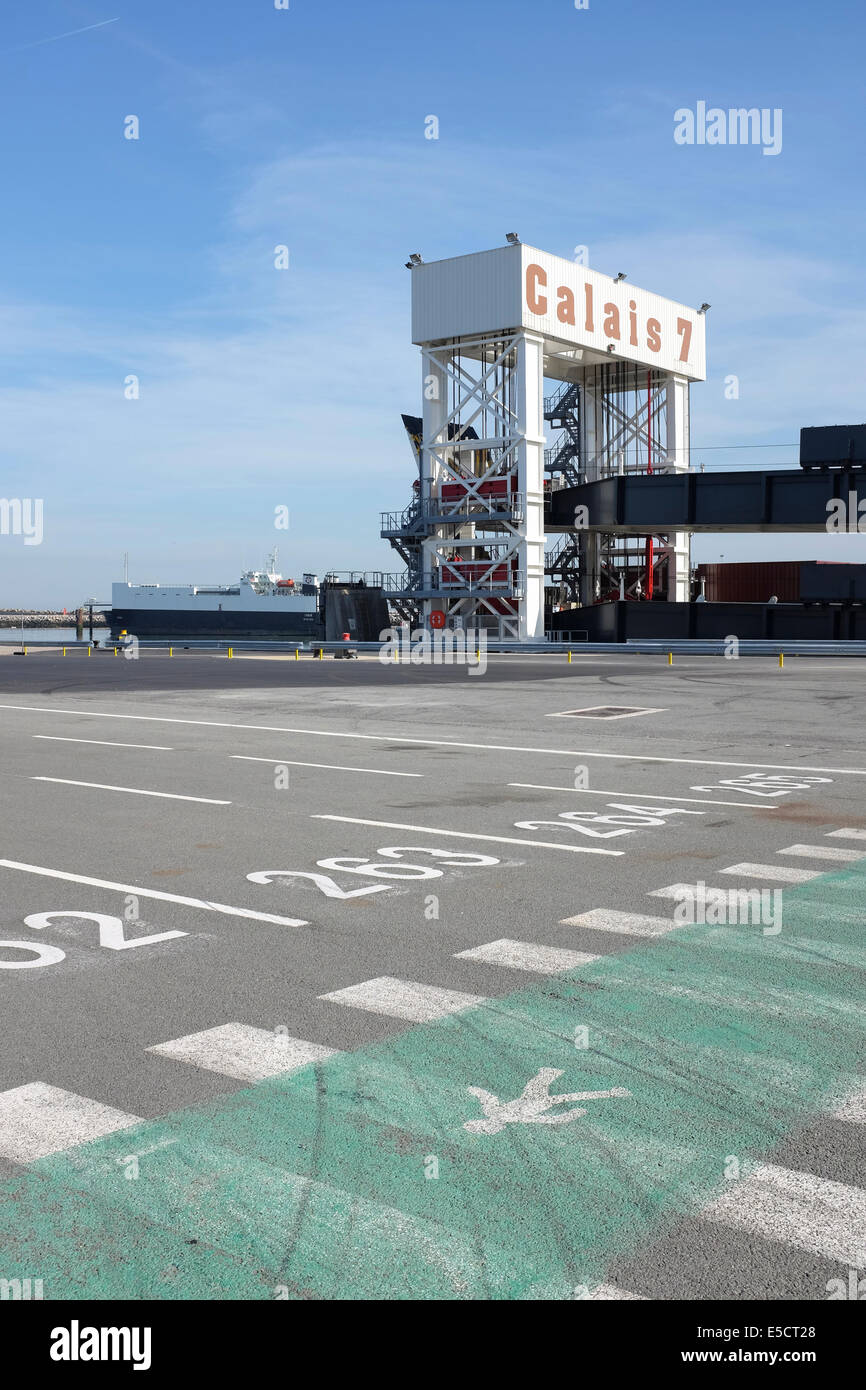 Gate numer seven for ferries at Calais port, France - Stock Image