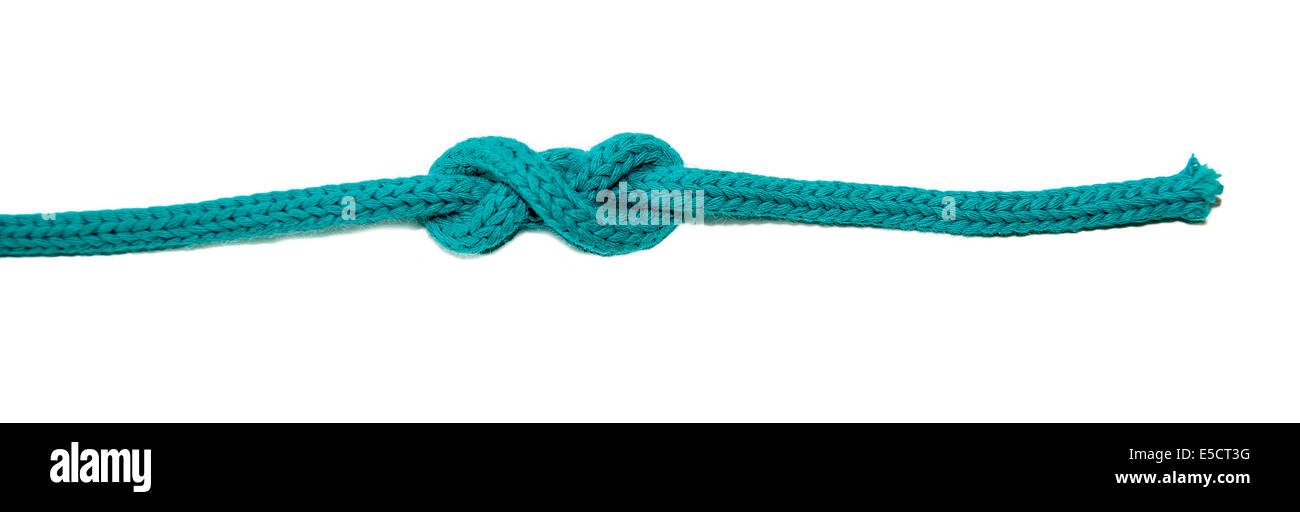 Double Overhand Stopper Knot similar to the Figure Eight Knot on white background used as a stopper at the end of - Stock Image