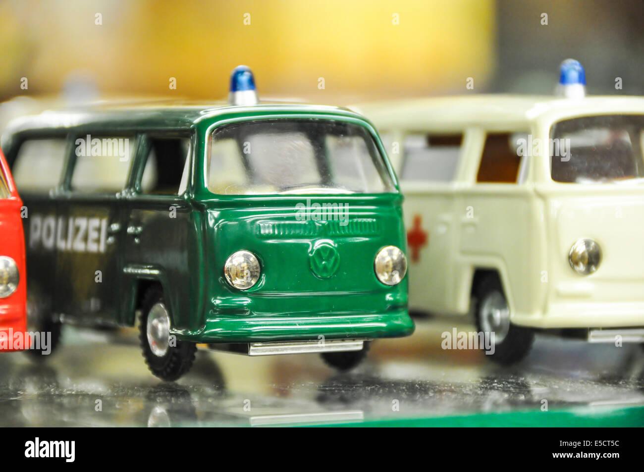 Volkswagen miniature vans in a toy shop in Prague Czech Republic - Stock Image