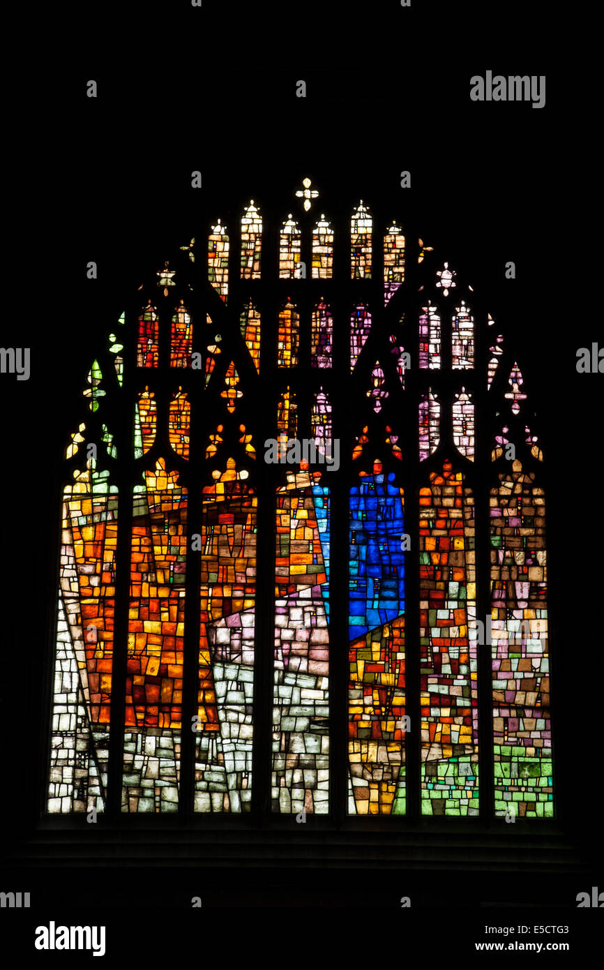 Stained Glass Window, Manchester Cathedral, England, UK - Stock Image