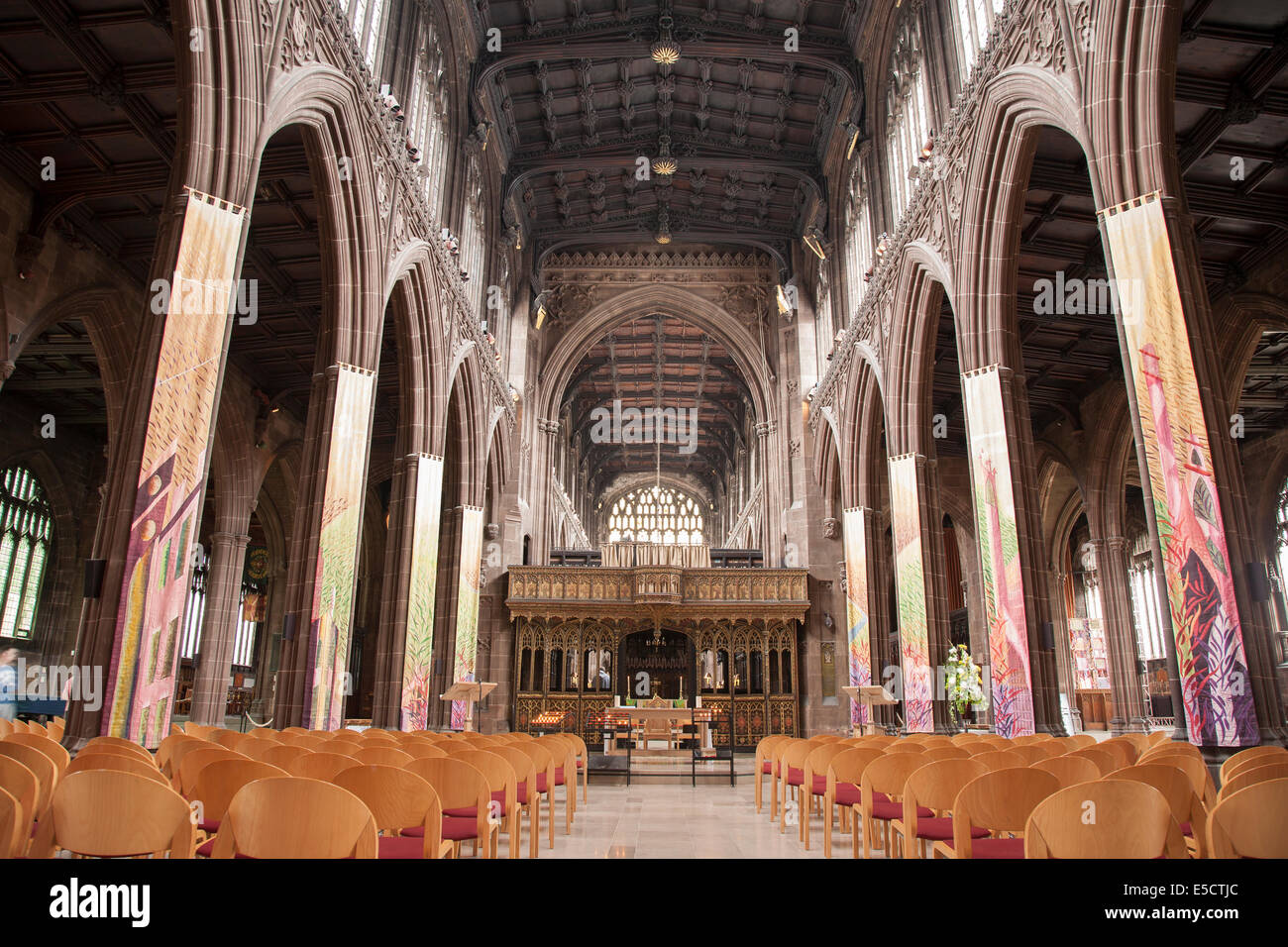 Nave of Manchester Cathedral, England, UK - Stock Image