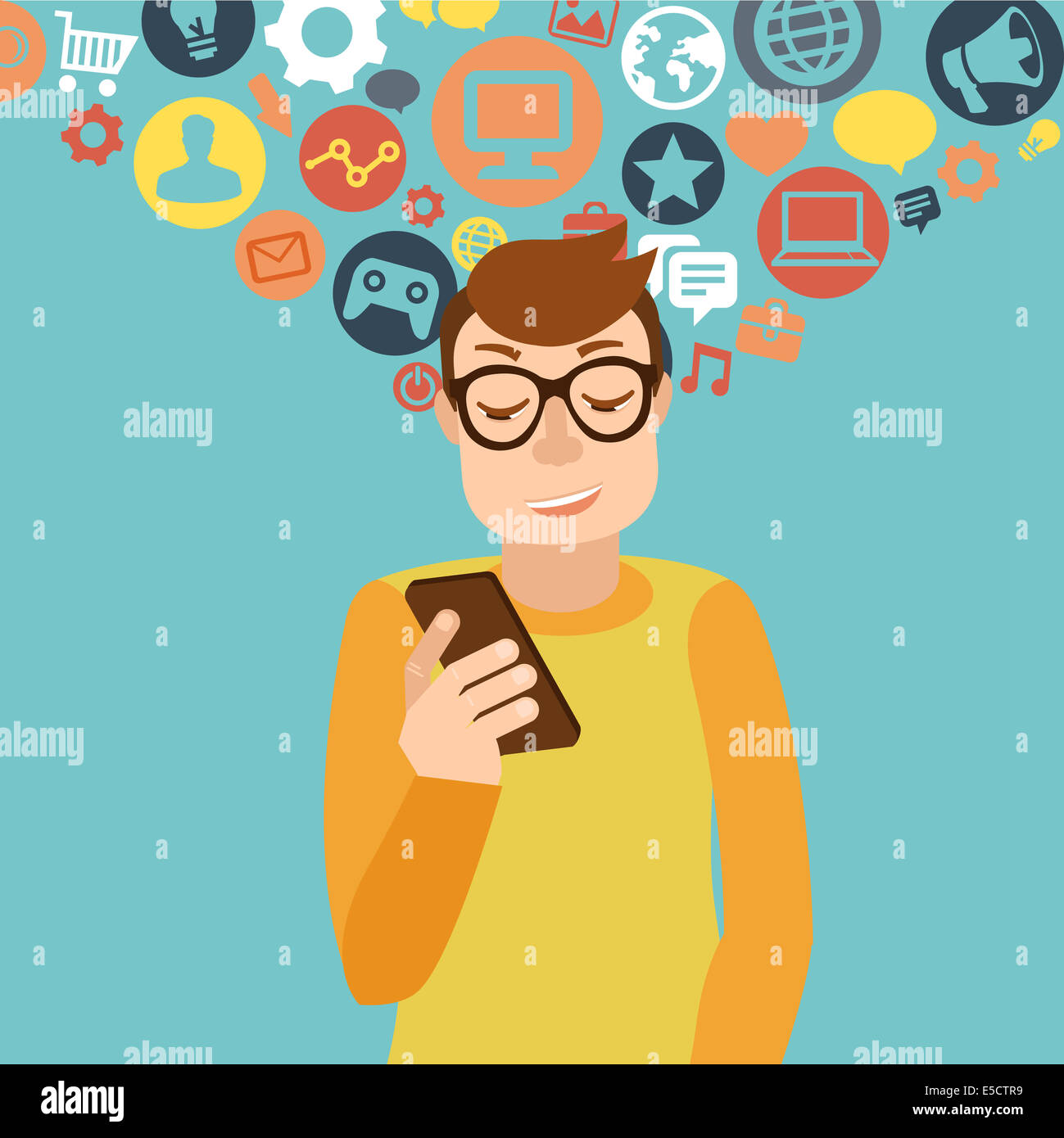 Man wearing glasses in flat style - smartphone addiction concept - Stock Image
