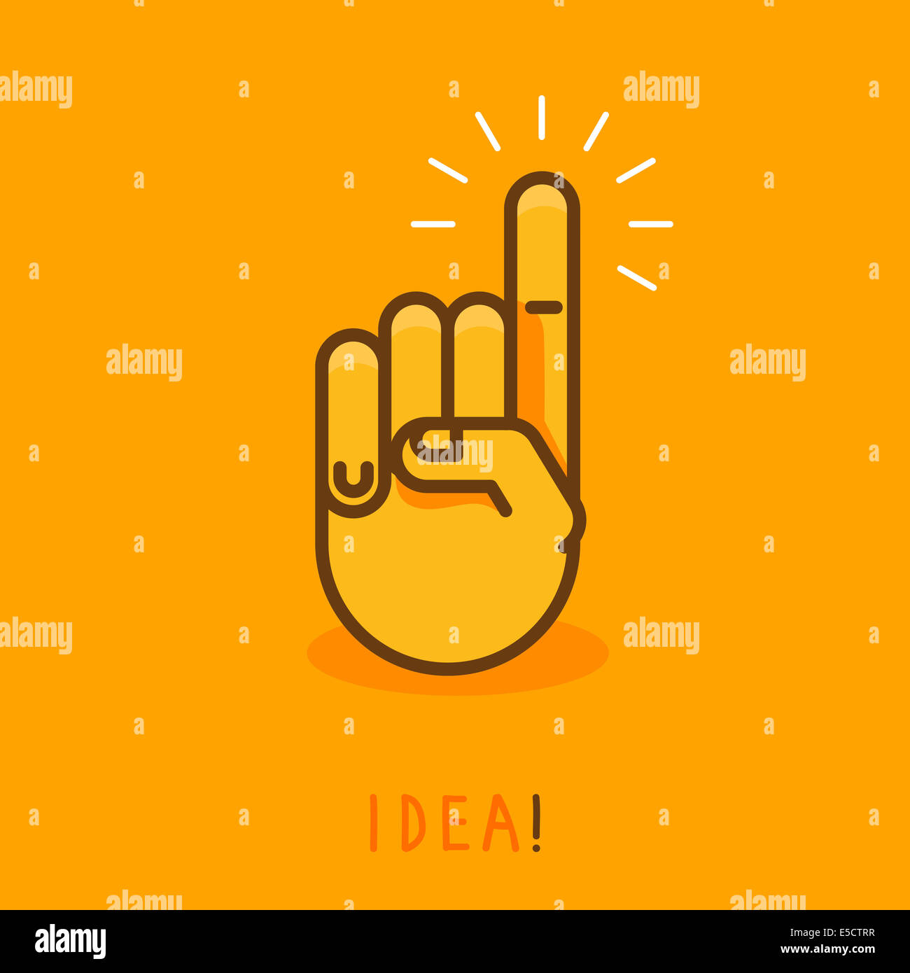 abstract creative concept - hand icon with finger pointing up - illustration in outline style - Stock Image
