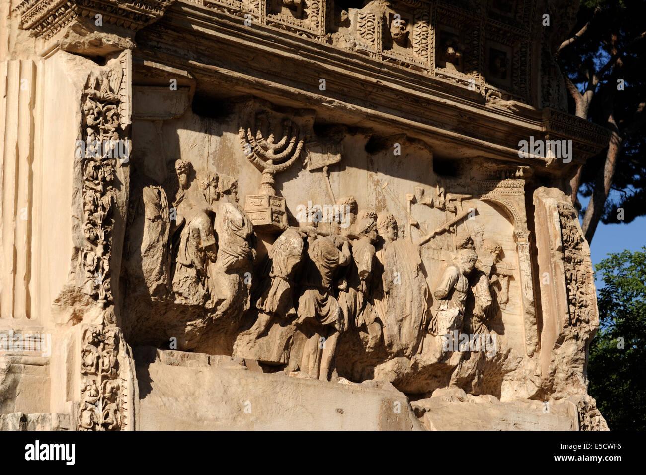 italy, rome, roman forum, arch of titus, bas relief - Stock Image