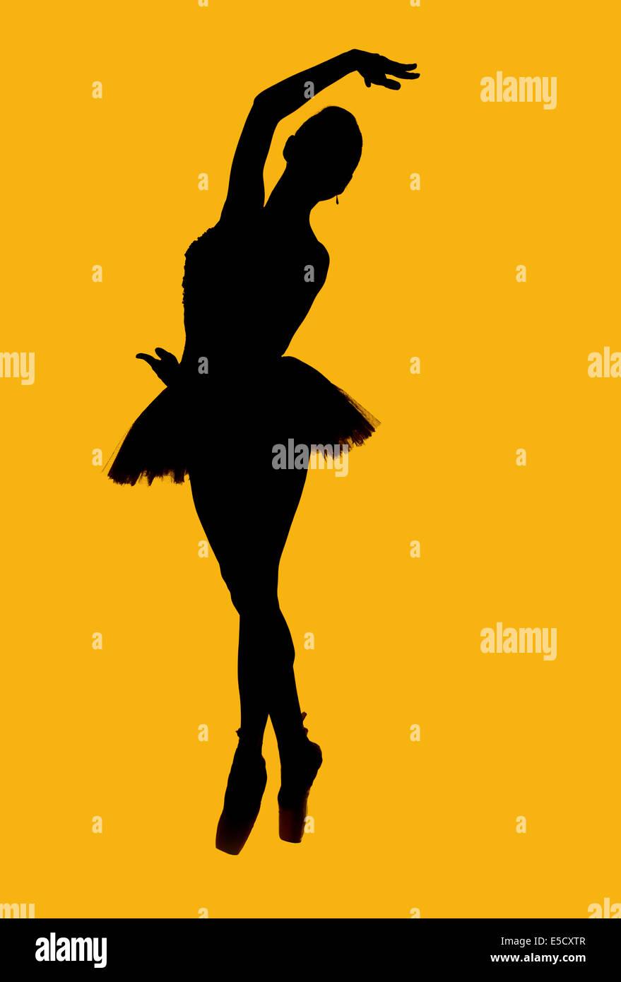 Black silhouette of ballerina - Stock Image