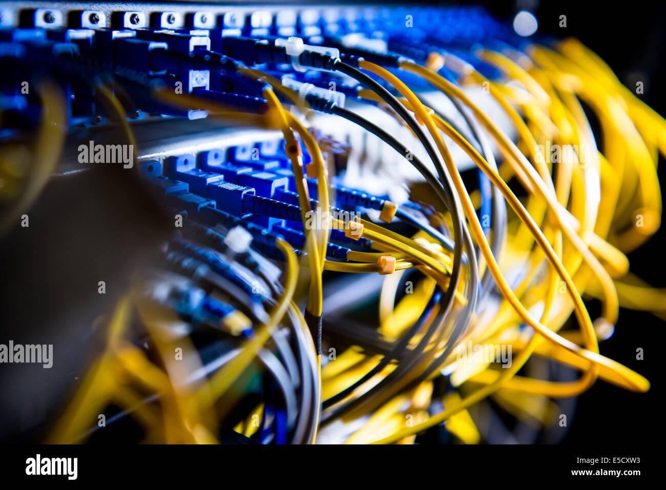 Fiber-optic equipment in a data center Stock Photo