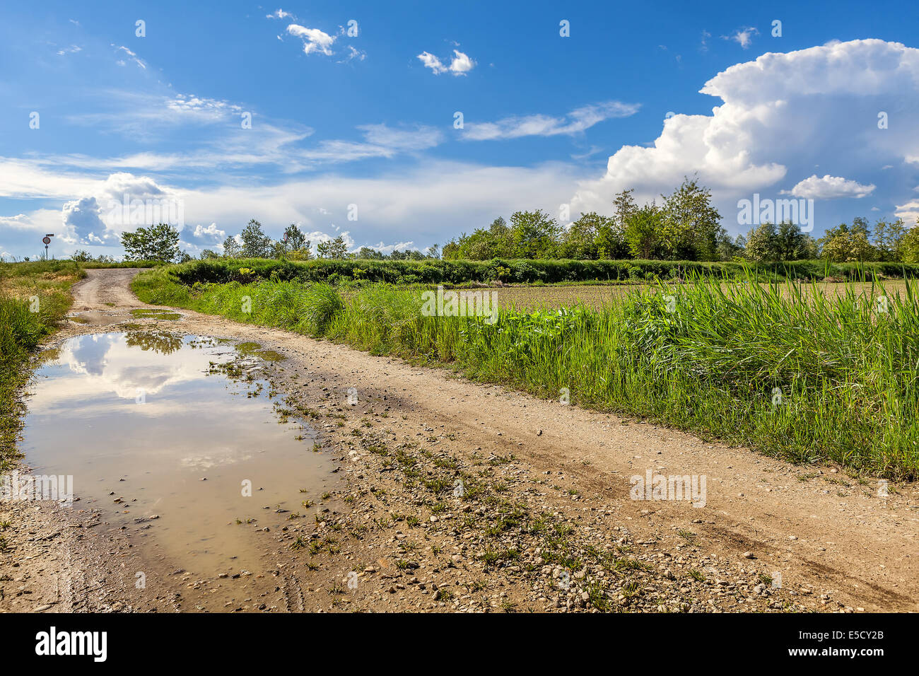 Puddle on rural road under beautiful blue sky with white clouds in Piedmont, Northern Italy. - Stock Image