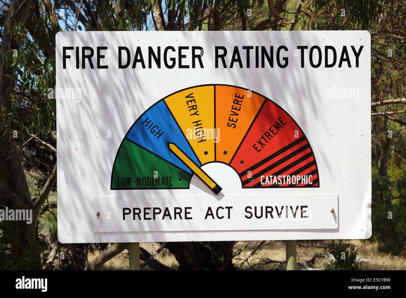 Fire danger rating sign on highway in Western Australia - low to catastrophic. - Stock Image