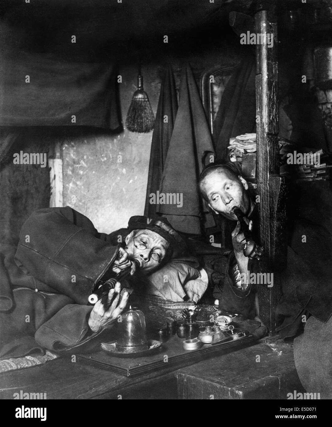 Smokers in an Opium Den in Chinatown, San Francisco United States