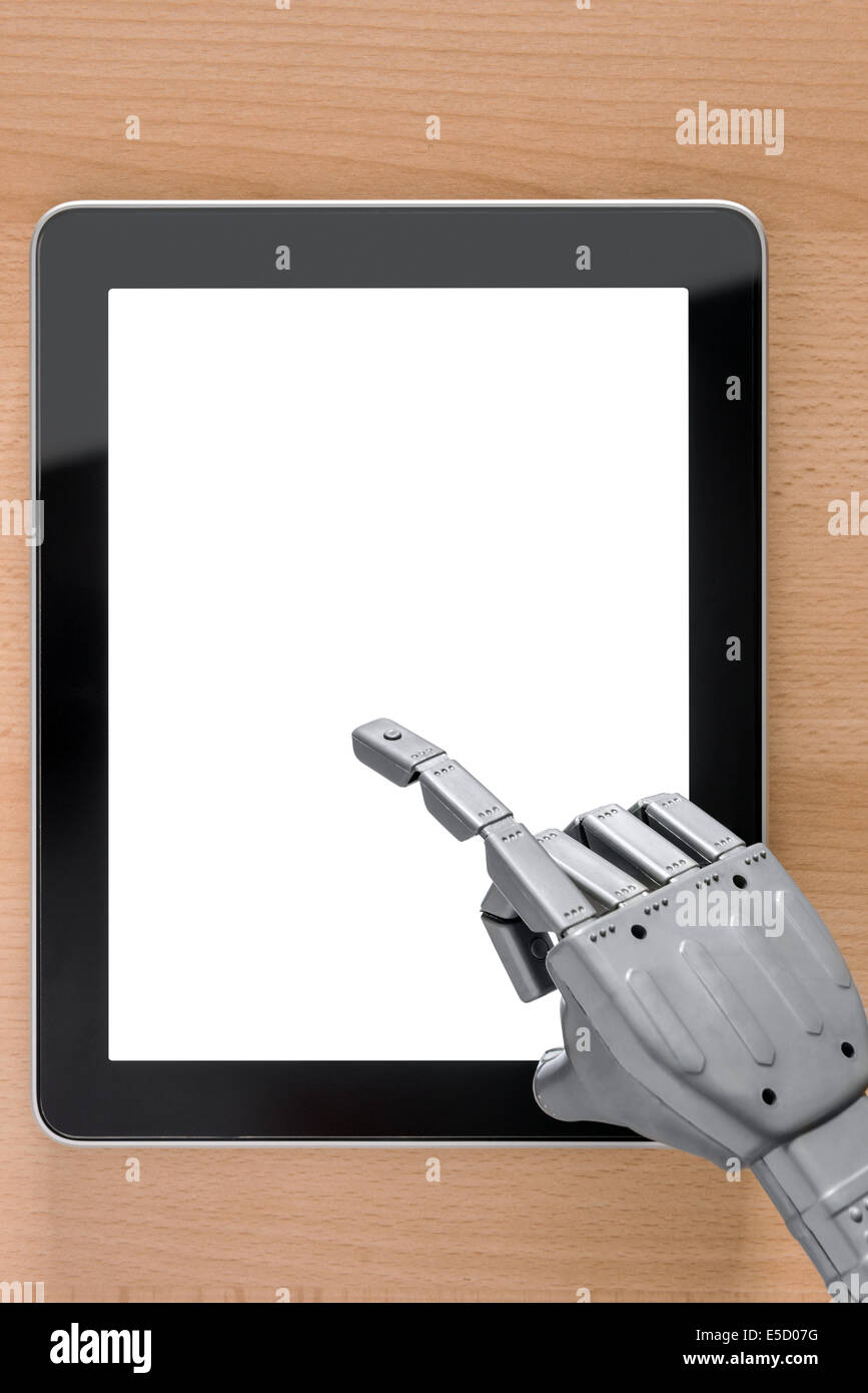 Robot hand using a touchscreen tablet computer, clipping path provided for the blank screen, add your own message - Stock Image