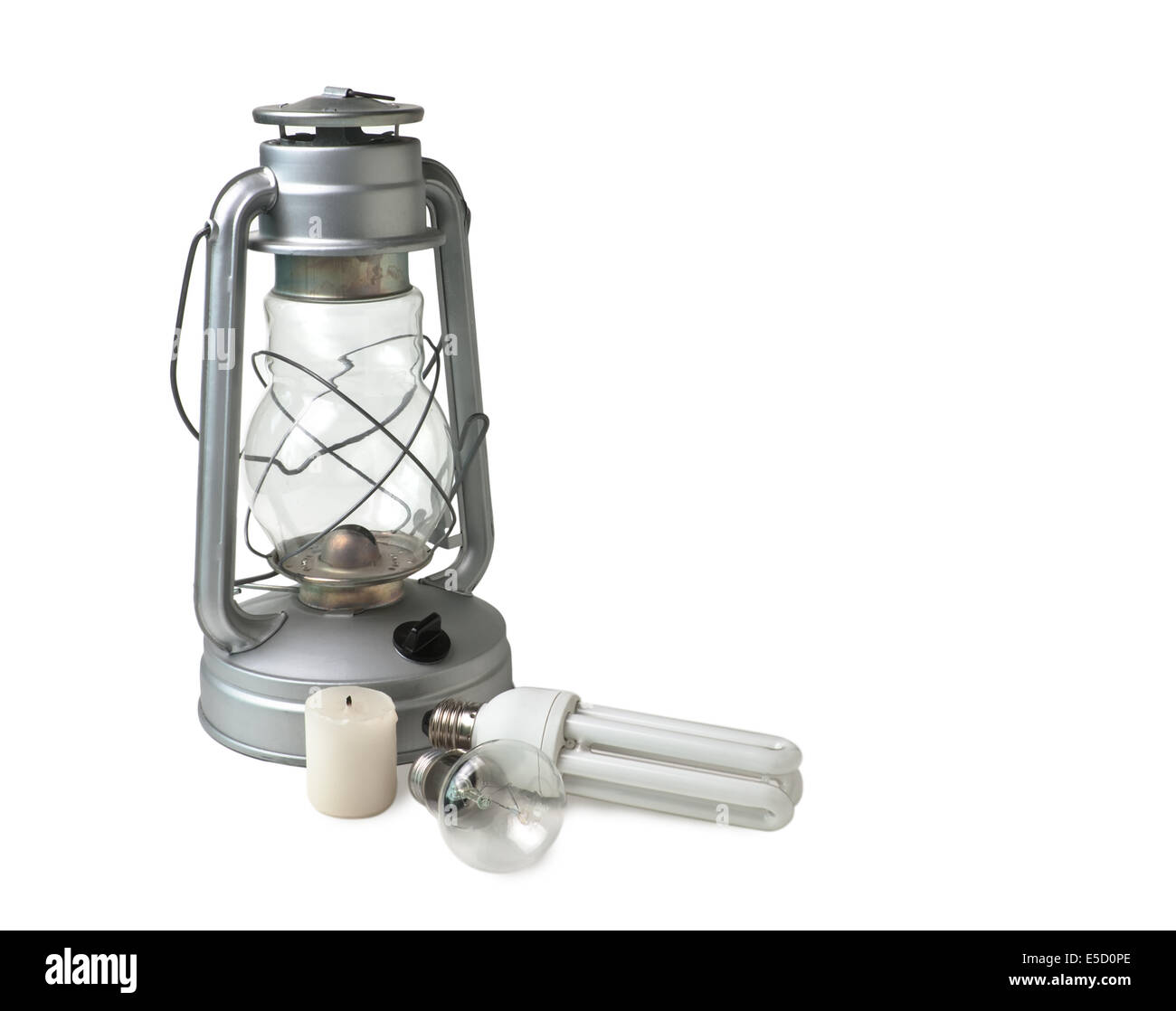 candle, a kerosene lamp, and electric lamps  isolated on  white background - Stock Image