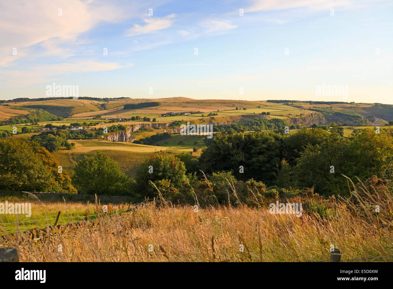 Quarrys at Stoney Middleton from Eyam, Derbyshire, Peak District National Park, England, UK. - Stock Image