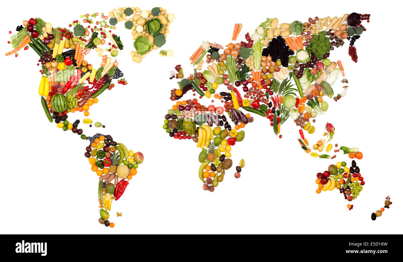 fresh fruit and vegetable map of the world all continents made from food produced in each country