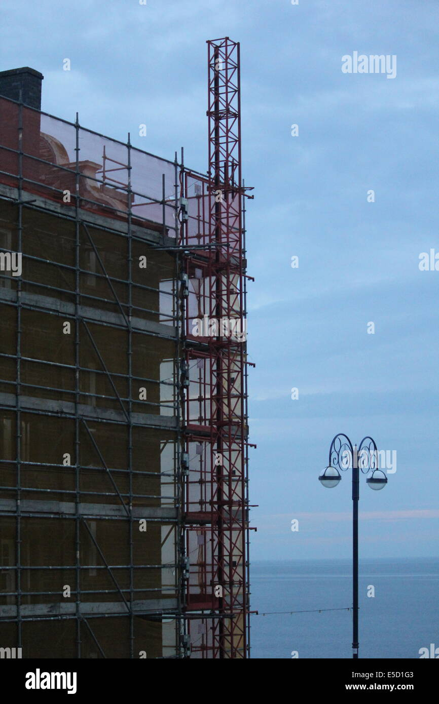 Scaffolding on Alexandra hall Aberystwyth west Wales uk - Stock Image