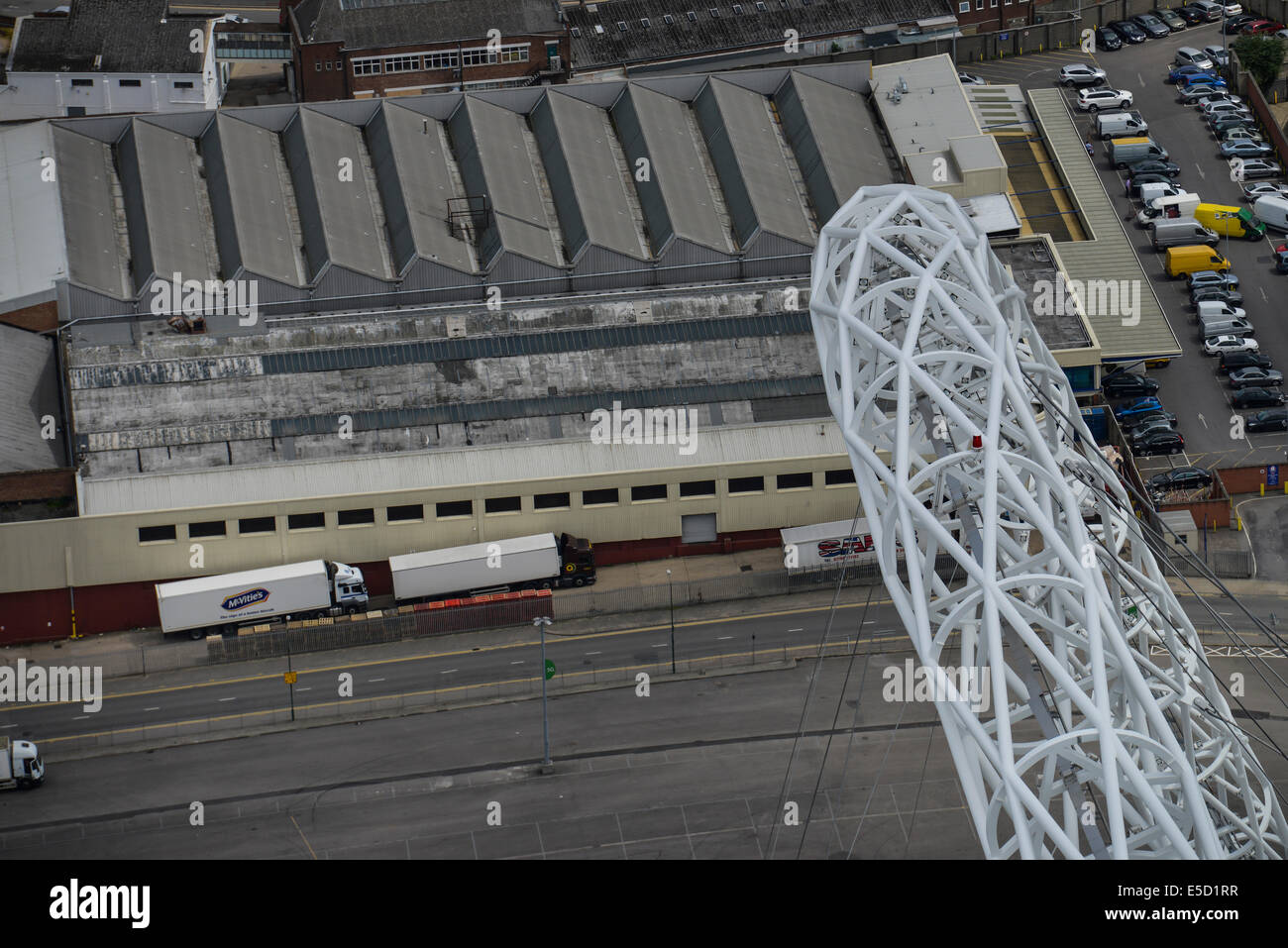 An aerial view looking down on the famous arch of Wembley football stadium, London, UK - Stock Image