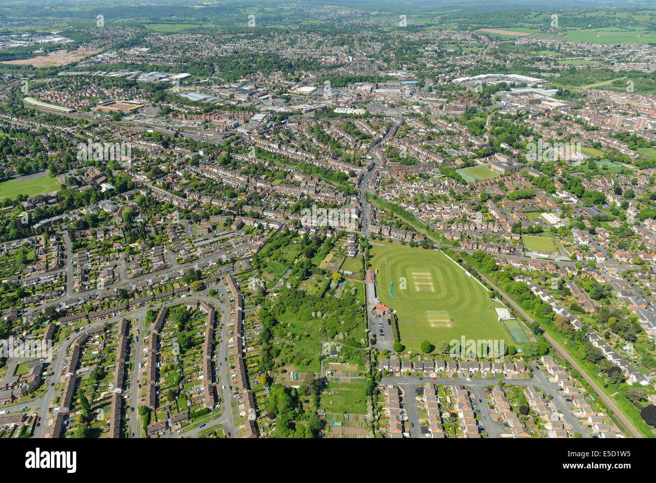 An aerial view of Kidderminster with the town centre visible. - Stock Image