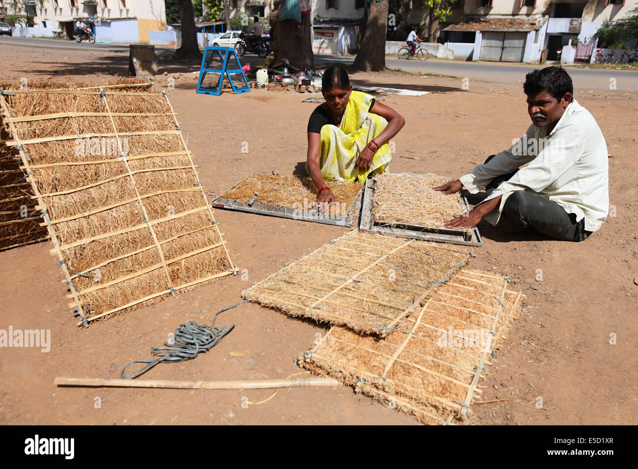 Tribal workers making water cooler plates of dry grass, Korba District, Chattisgadh, India - Stock Image
